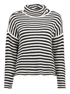 nmharley l/s funnel neck knit jumper 27000668 noisy may trui black/white