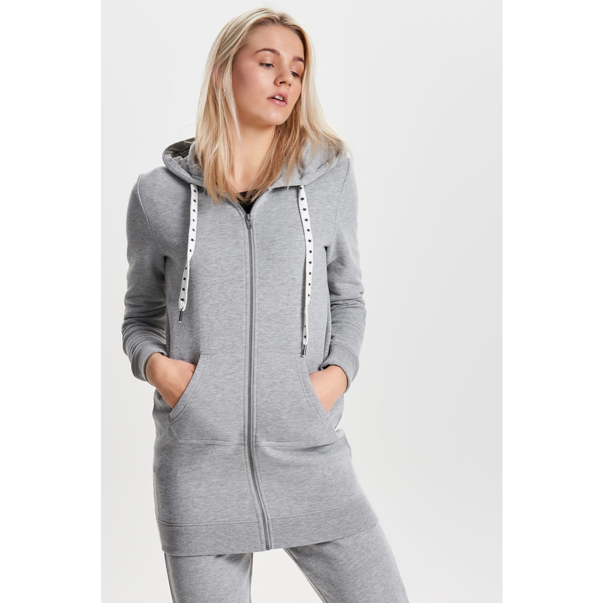 onlabsolute long zip hood cc swt 15145974 only vest light grey melange