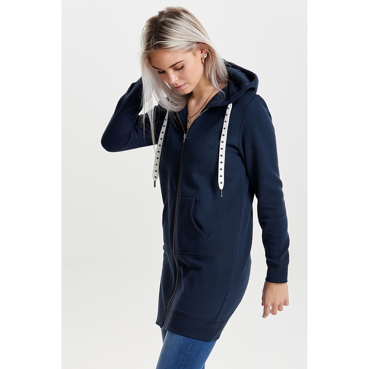 onlabsolute long zip hood cc swt 15145974 only vest blue nights