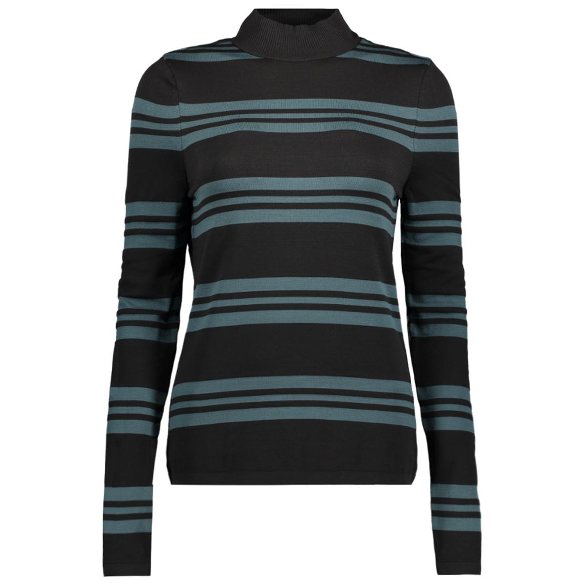 vmsassy ls highneck blouse 10192694 vero moda t-shirt black/ green gables