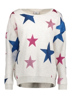 Only Sweater onlHOPE STAR GLITTER L/S ONECK SWT 15157827 Oatmeal/ Star AOP