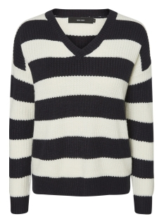 Vero Moda Trui VMSIBBO STRIPE LS V-NECK BLOUSE 10192122 Night Sky/W.snow WH