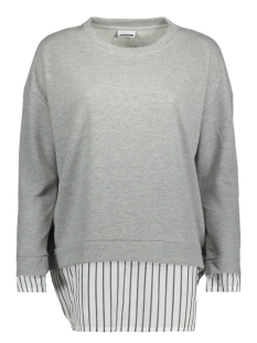 Noisy may Sweater NMWYATT L/S SWEAT WITH SHIRT TRIM 8 27000298 Light Grey Mela/STRIPE