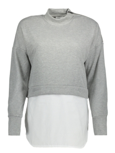 Noisy may Sweater NMWYATT L/S 2 IN 1 SWEAT 8B 27000307 Light Grey Mela/SOLID WHIT