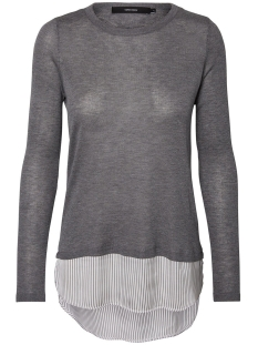 Vero Moda Trui VMANIA LS O-NECK BLOUSE 10192943 Medium Grey Melange