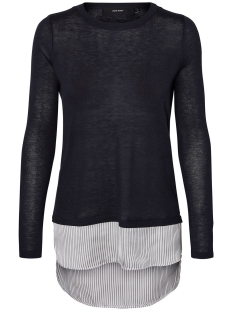 Vero Moda Trui VMANIA LS O-NECK BLOUSE 10192943 Night Sky/SNOW WHITE