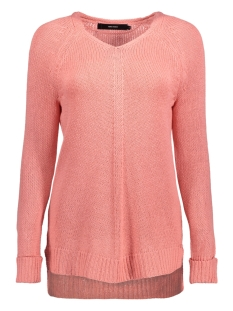 Vero Moda Trui VMKAKI LS DEEP V-NECK BLOUSE 10192179 Strawberry Ice