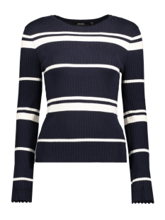 Vero Moda Trui VMABRA STRIPE LS O-NECK BLOUSE 10192325 Night sky