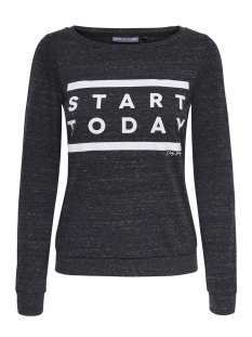Only Play Sport trui onpSTART LS BOATNECK SWEAT 15148890 Black/MELANGE W.