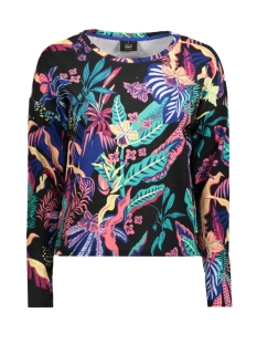 Only Sweater onlLEXI L/S O-NECK BOX SWT 15156786 Black/TROPICAL