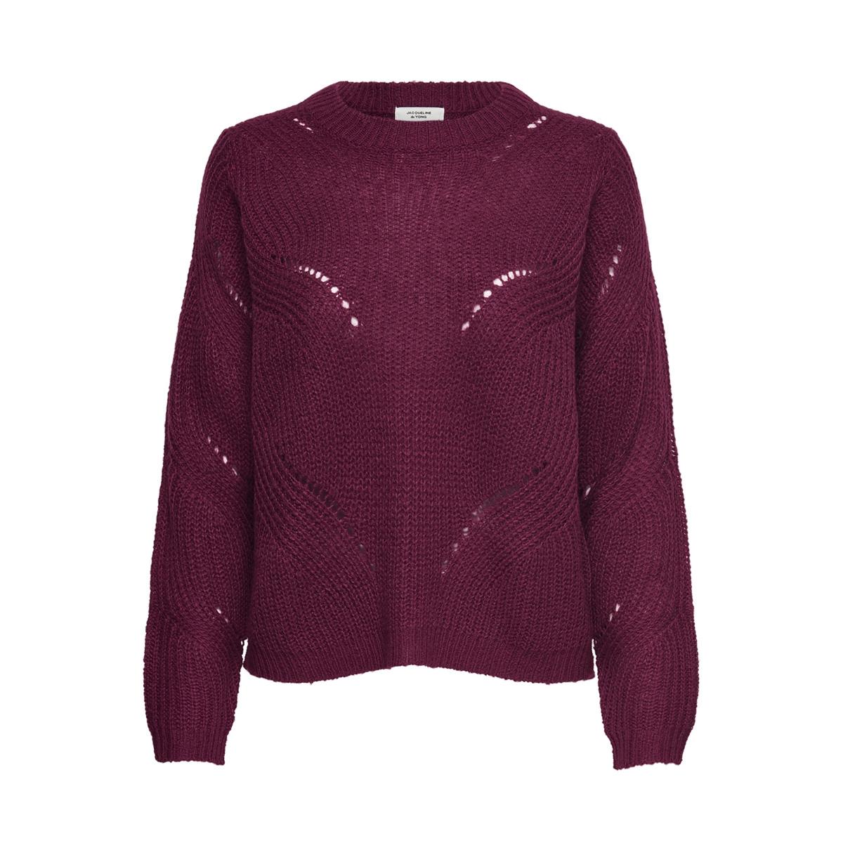jdydaisy l/s structure pullover knt 15161131 jacqueline de yong trui red plum