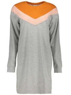 Only Jurk onlGIGI L/S BLOCK DRESS SWT 15161767 Light Grey Melange/STRIPE