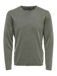 Only & Sons Trui onsGARSON 12  WASH CREW NECK KNIT NOOS 22006806 Deep Lichen Green