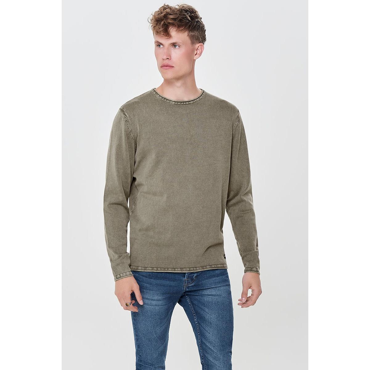 onsgarson 12  wash crew neck knit noos 22006806 only & sons trui deep lichen green
