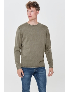 onsgarson 12  wash crew neck knit noos 22006806 only & sons trui deep lichen green