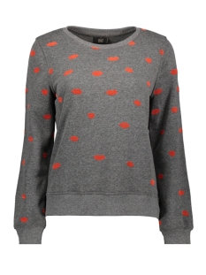 Only Sweater onlANNA MADISON L/S O-NECK SWT 15162035 Dark Grey/Melan/KISSES