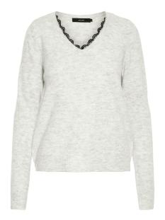 vmiva ls v-neck lace blouse noos 10203292 vero moda trui light grey melange