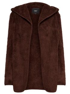onlnew contact hooded sherpa coat o 15161142 only vest cherry mahohany