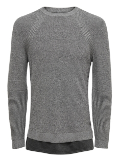 Only & Sons Trui onsLEWIS 12 STRUCTURE MIXED KNIT 22010952 Medium Grey