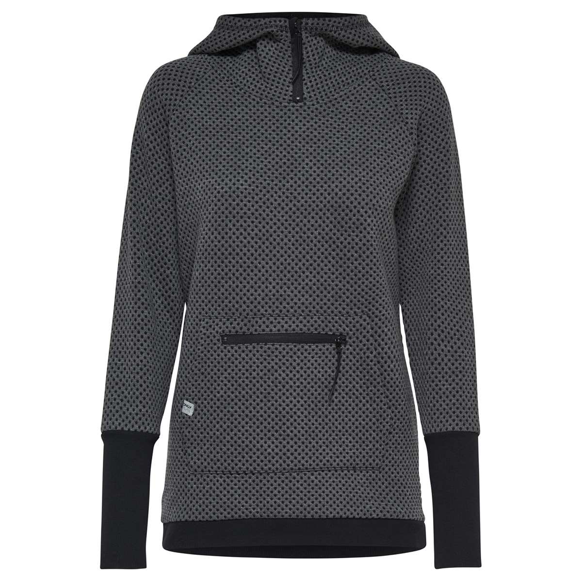 onpdonna long sweat 15154970 only play sport trui dark grey melange/w. black