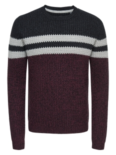 Only & Sons Trui onsLAZLO 3 BLOCKED CREW NECK KNIT R 22010308 Cabernet