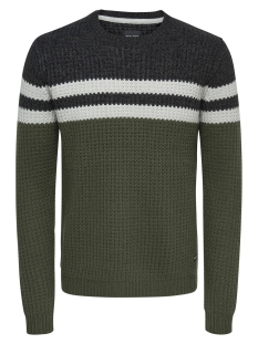 Only & Sons Trui onsLAZLO 3 BLOCKED CREW NECK KNIT R 22010308 Grape Leaf