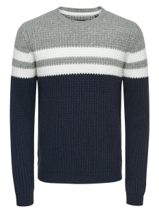 Only & Sons Trui onsLAZLO 3 BLOCKED CREW NECK KNIT R 22010308 Blue Nights