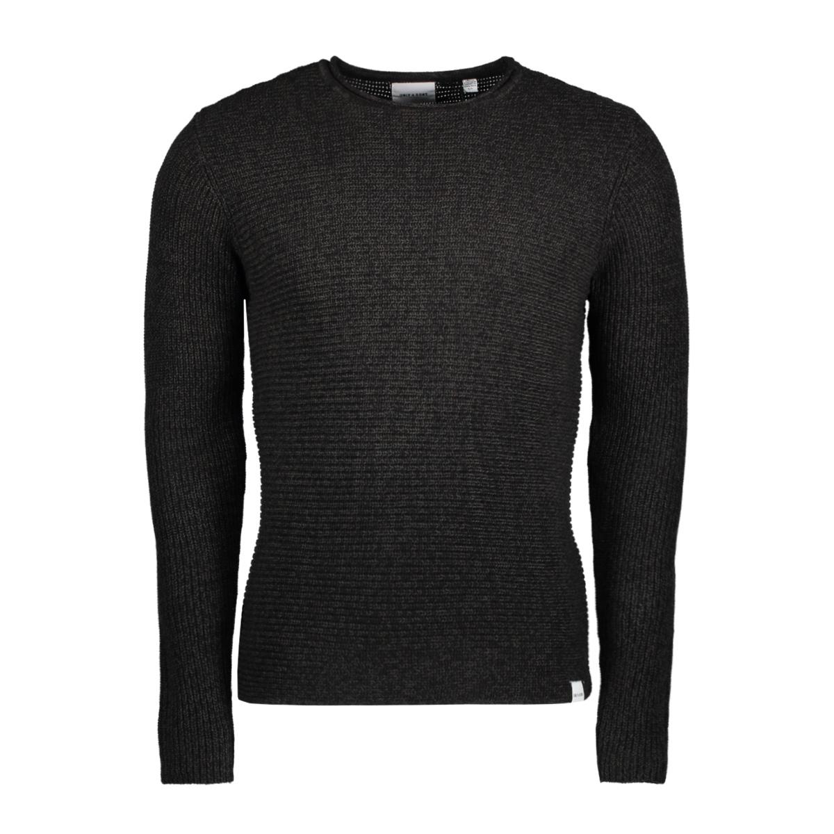 onssato 5 multi clr knit noos 22007296 only & sons trui dark grey melange