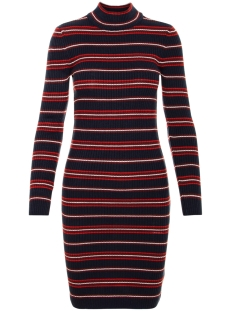 Noisy may Jurk NMMYRA L/S O-NECK STRIPE KNIT DRESS 27005994 Night Sky/CHINESE RED