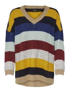 onlrainbow v-neck pullover knt 15164739 only trui night sky/w blue pri