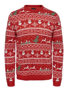Only & Sons Trui onsXMAS 7 JAQUARD CREW  KNIT REG 22011292 Haute Red