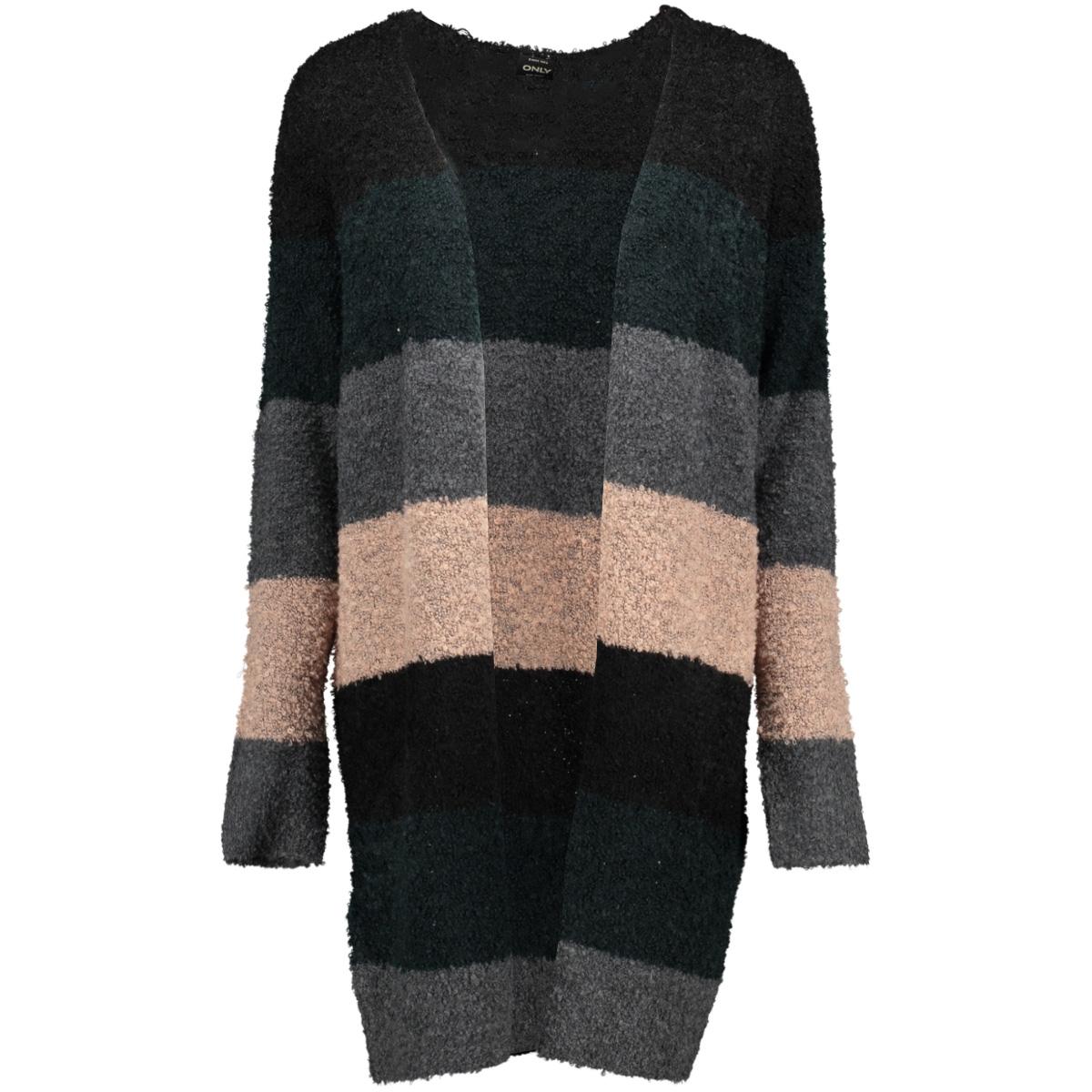 onlmemphis l/s long cardigan knt 15160807 only vest black/w. green gables