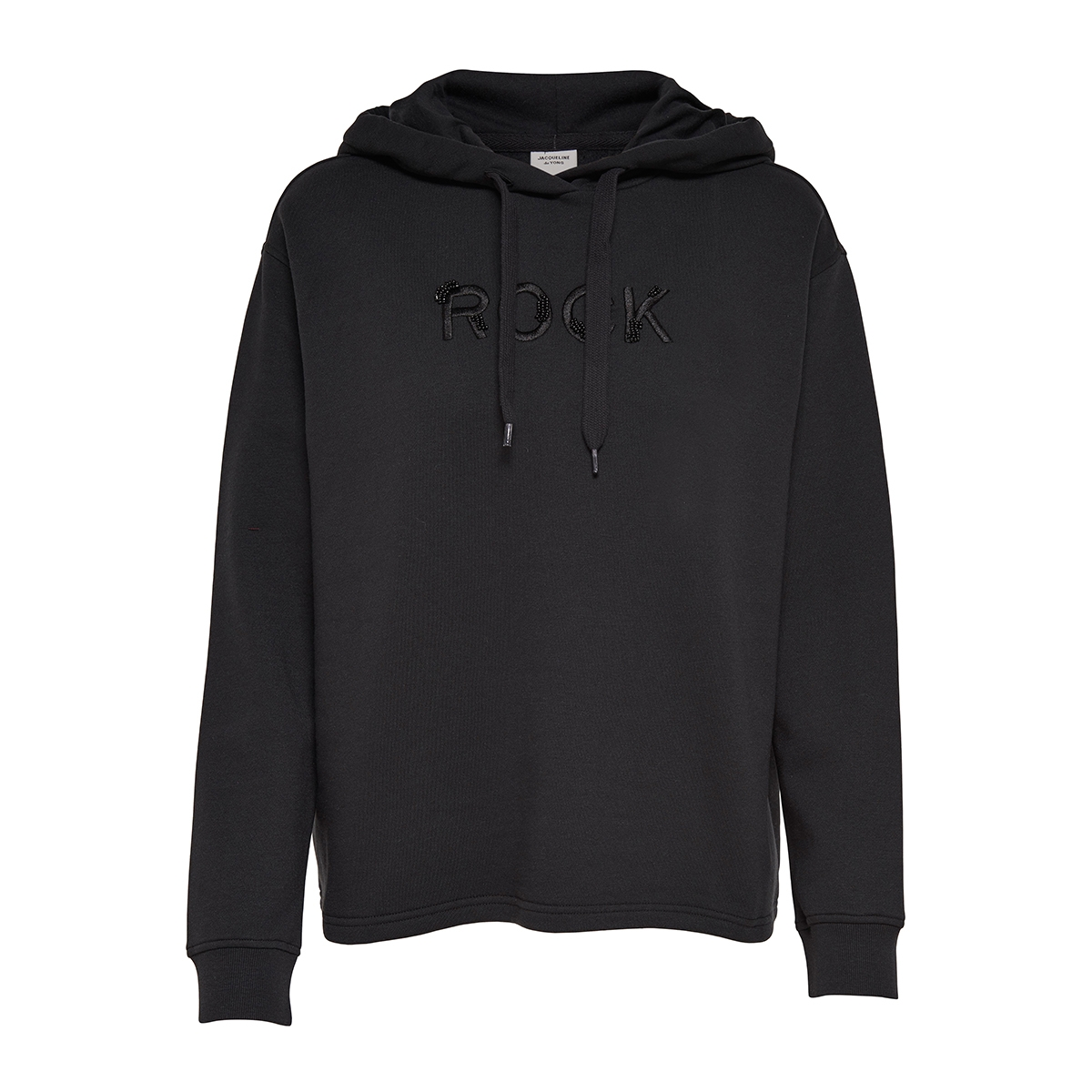jdykora l/s emb hood sweat jrs 15161166 jacqueline de yong sweater black/rock embro