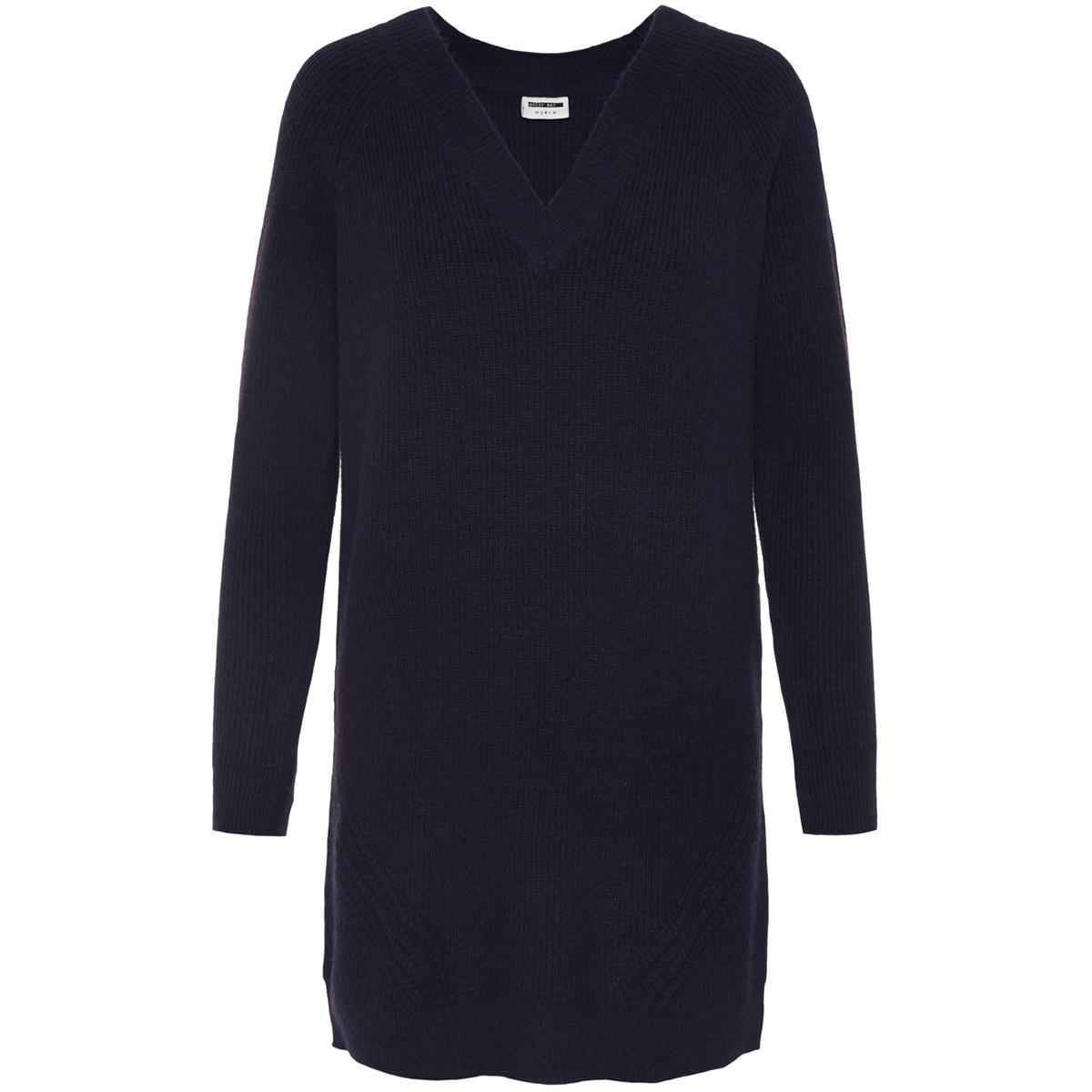 nmsati l/s v-neck cable knit dress 27002433 noisy may jurk night sky
