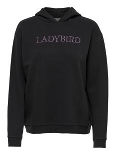 Jacqueline de Yong sweater JDYLOVER L/S HOOD EMB SWT 15163166 Black/LADYBIRD