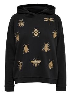 Jacqueline de Yong sweater JDYLOVER L/S HOOD EMB SWT 15163166 Black/BUG