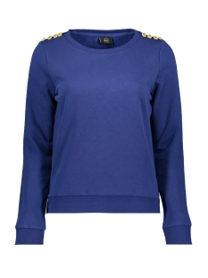onlsound l/s o-neck button swt rpt1 15173366 only sweater blue depths