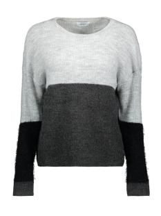 Only Trui onlSANTANA L/S BLOCK PULLOVER KNT 15161065 Light Grey Melange/W BLACK FE