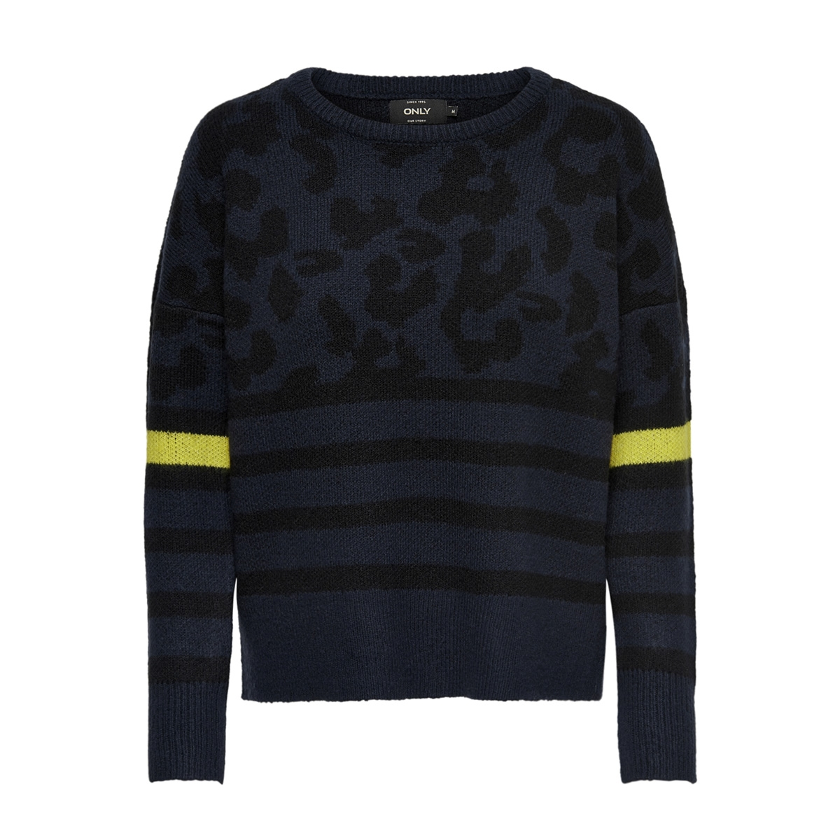 onlnew odine l/s pullover knt 15165578 only trui night sky/ w.black/l