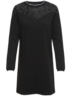 onlluna l/s dress swt 15170533 only jurk black/white pipi