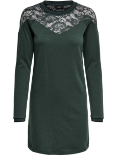 onlluna l/s dress swt 15170533 only jurk green gables/black pipi
