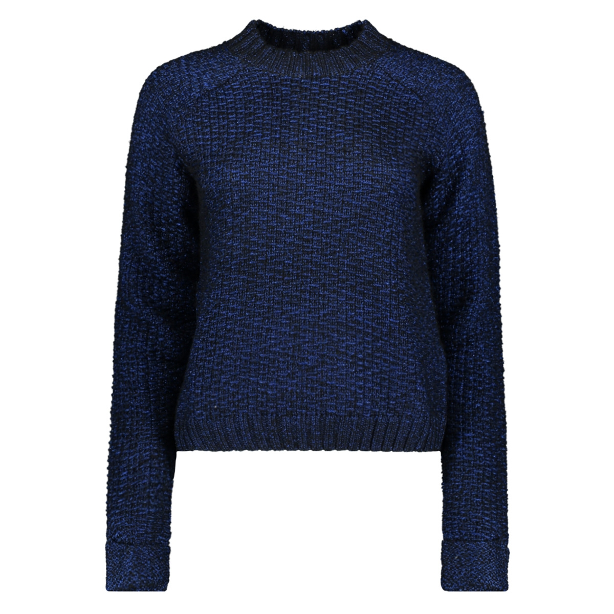 nmdaniel l/s mockneck knit 7 27004461 noisy may trui black/surf the web