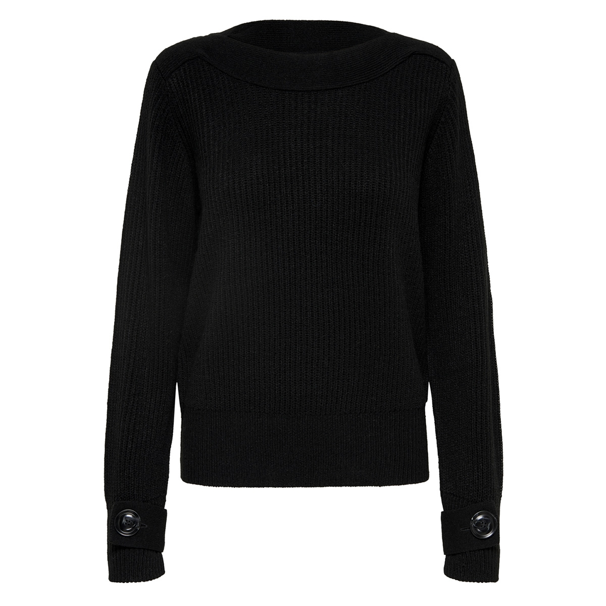 jdytonic l/s boatneck pullover knt 15163489 jacqueline de yong trui black/w. black f