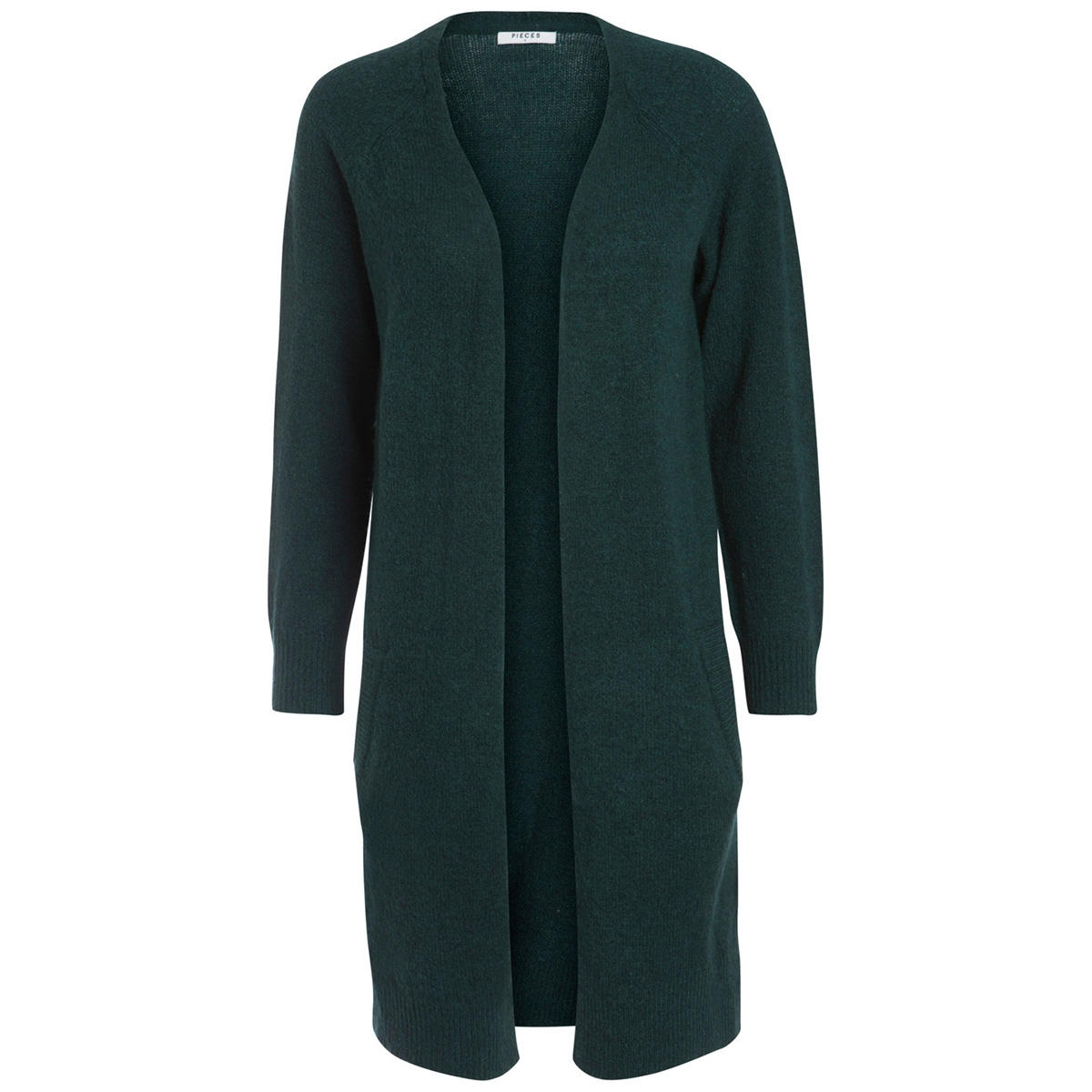 pcjane ls long wool cardigan noos 17082985 pieces vest ponderosa pine/melange