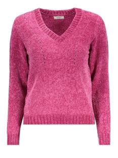jdychenilla l/s v-neck pullover knt 15160327 jacqueline de yong trui fuchsia red