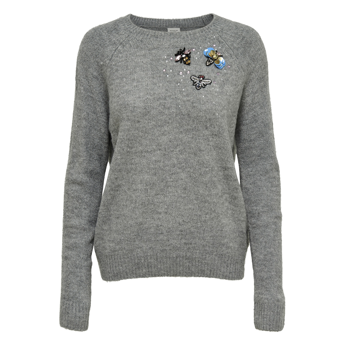 jdydiamond l/s pullover knt 15162979 jacqueline de yong trui dark grey melange/embellishm