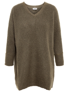 nmtomma 3/4 v-neck knit 8b 27004846 noisy may trui olive night