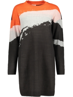 Noisy may Jurk NMSTAYLA L/S O-NECK LONG KNIT 1 27006078 Obsidian/MANDARIN