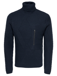 Only & Sons Trui onsKICK 5 CABLE POCKET HIGH NECK RE 22011514 Dark Navy