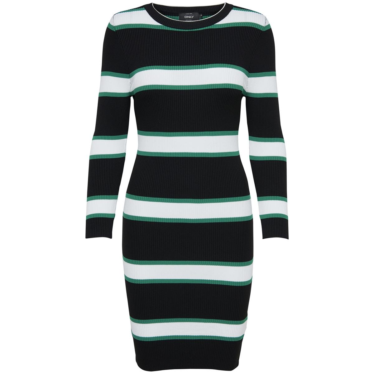 onlkairo 7/8 dress knt 15168859 only jurk black/w. cloud dancer